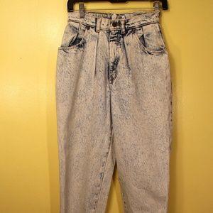 High Waisted Acid Washed Mom Jeans 80s 90s Vintage